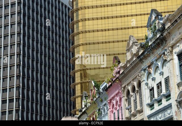 Comparirion of old heritage and modern buildings in Kuala Lumpur, Malaysia - Stock Image