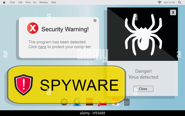 Spyware Computer Hacker Virus Malware Concept - Stock Image