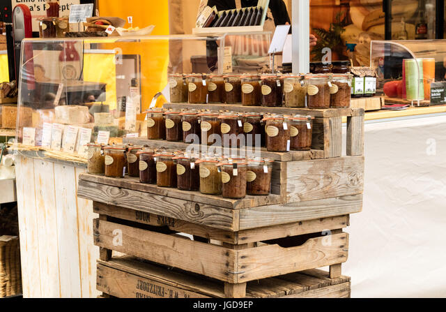 KORNELIMUENSTER, GERMANY, 18th June, 2017 - mustard in glasses for sale on the historic fair of Kornelimuenster. - Stock Image