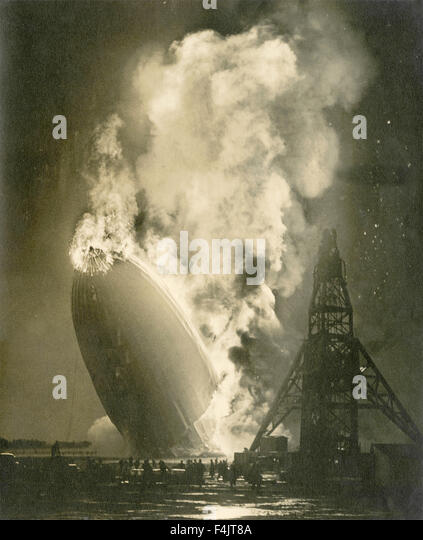 Disaster of the Hindenburg airship - Stock Image