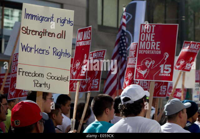 Seattle, Washington, USA. 1st May 2014. 2014 May Day Demonstrations, El Comite March Credit:  Marilyn Dunstan/Alamy - Stock Image