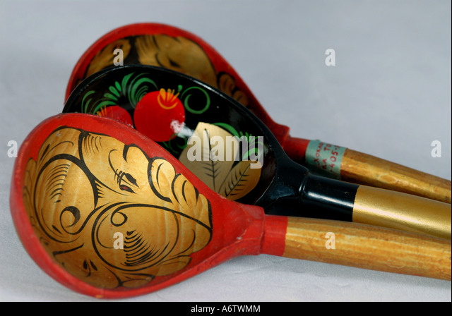 Russia russian red and black lacquer spoons iconic russian souvenir moscow - Stock Image