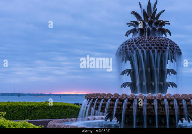 Close Up of Pineapple Fountain at sunrise - Stock Image