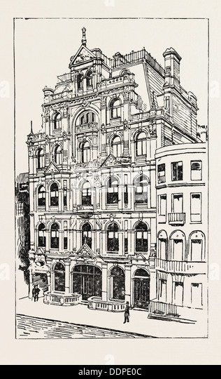 EXTERIOR OF THE MEISTERSINGERS CLUB, LONDON, engraving 1890, UK, U.K., Britain, British, Europe, United Kingdom, - Stock Image