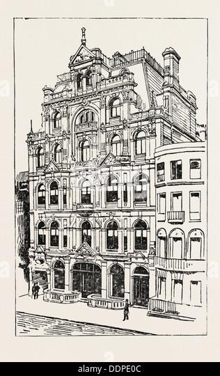 EXTERIOR OF THE MEISTERSINGERS CLUB, LONDON, engraving 1890, UK, U.K., Britain, British, Europe, United Kingdom, - Stock Image