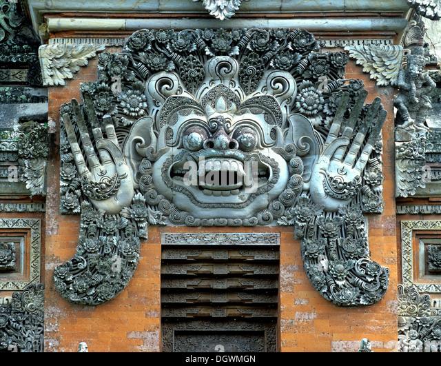 Barong, king of the good spirits, Balinese mythology, temple entrance, Ubud, Bali, Südostasien, Indonesia - Stock Image
