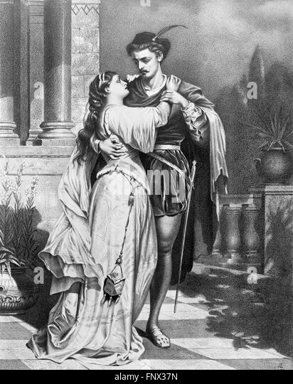 Romeo and Juliet. A 19thC poster advertising Shakespeare's 'Romeo and Juliet', 1879. - Stock Image