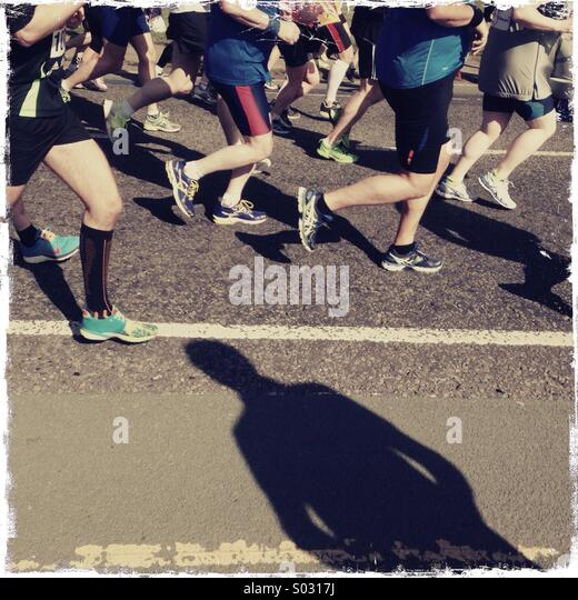 Marathon shadow - Stock Image