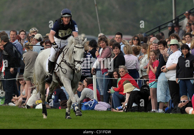 Oliver Townend riding ASHDALE CRUISE MASTER gallops towards fence 21 watched by the spectators. Mitsubishi Badminton - Stock Image