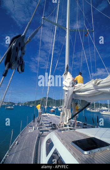 Caribbean Antigua Sailing bright blue sky - Stock Image