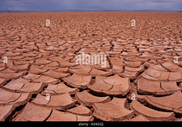 A huge expanse of cracked, dry, mud and soil on Bolivia's Altiplano. - Stock Image
