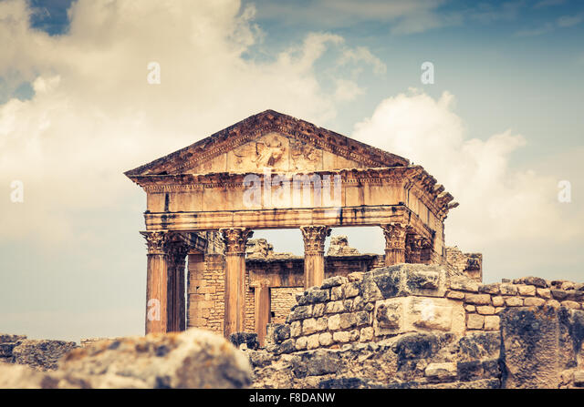 Ancient Roman city in Tunisia, Dougga - Stock Image