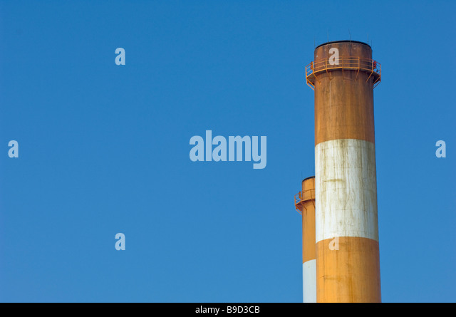 smokestack air quality pollution sky clean dirty - Stock Image