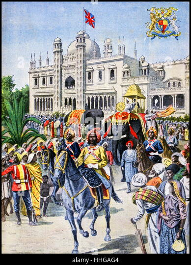 Illustration showing a procession in front of the Indian Pavilion, at the Exposition Universelle of 1900. - Stock Image