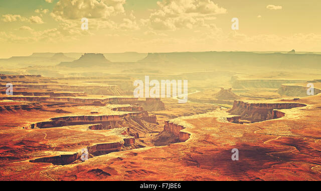 Vintage stylized Canyonlands National Park landscape, Utah, USA - Stock Image