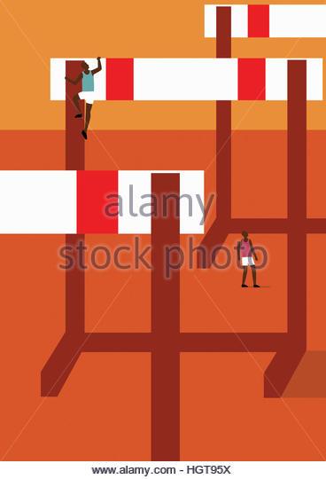 Athlete climbing huge hurdle - Stock-Bilder