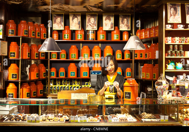 Austria, Vienna, Graben, main store of gourmet chain Julius Meinl, launched in 1862 as a coffee specialist, teas - Stock Image