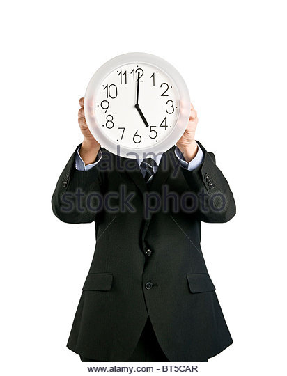clock covering face - Stock Image