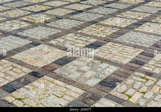 Brickwork pavement in Newquay, Cornwall. - Stock Image