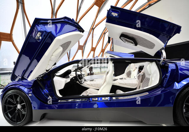 Tokyo, Japan. 18th Apr, 2017. Green Lord Motors, an electric vehicle engineering solution provider and a pioneer - Stock Image