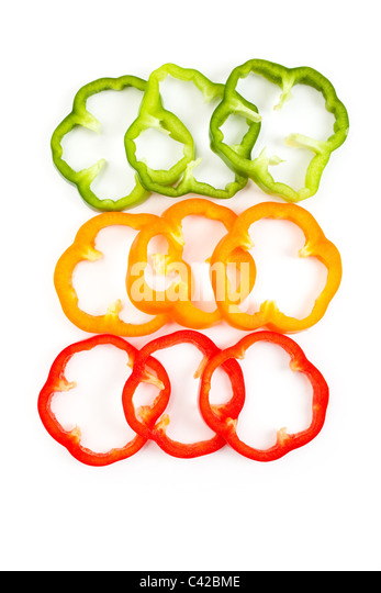 Slice Bell Pepper with white background - Stock Image