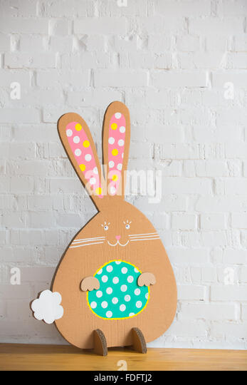 Decoration for Easter. Rabbit of cardboard - Stock Image