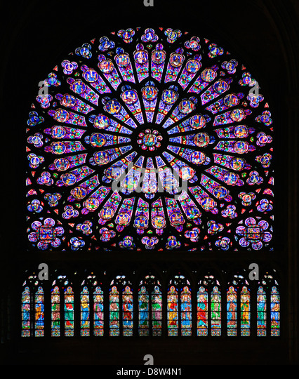 North transept rose window, Notre Dame Cathedral, Paris, France - Stock Image