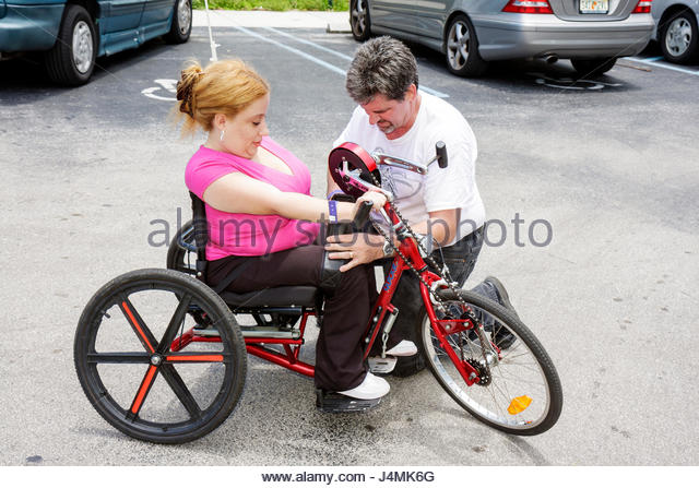 Miami Coconut Grove Florida Shake-a-Leg Miami No Barriers Festival disabled physical disability handicapped woman - Stock Image