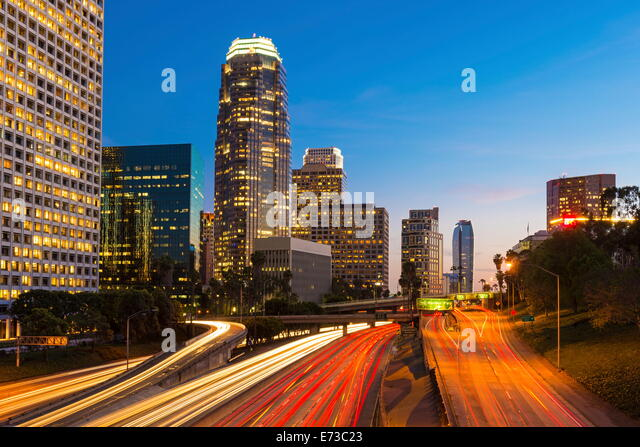 Downtown financial district of Los Angeles city, California, United States of America, North America - Stock Image