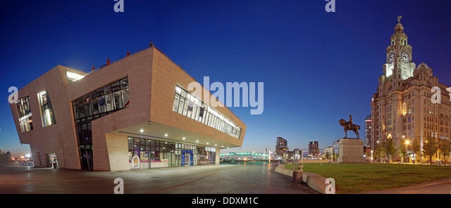 Wide shot at Pier Head at Nighttime liverpool Merseyside England UK - Stock Image