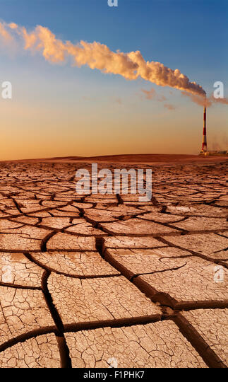 Industrial destruction, global warming concept - Stock Image
