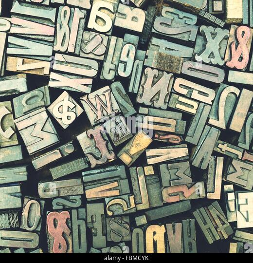 Different Sizes Of Typographical Pieces Assembled In Letters - Stock-Bilder