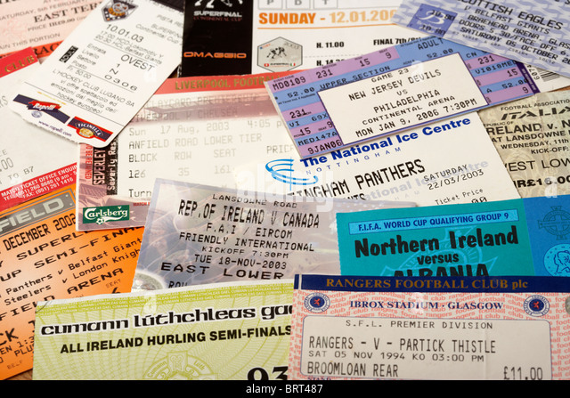 old sporting event tickets including football ice hockey and gaa - Stock Image
