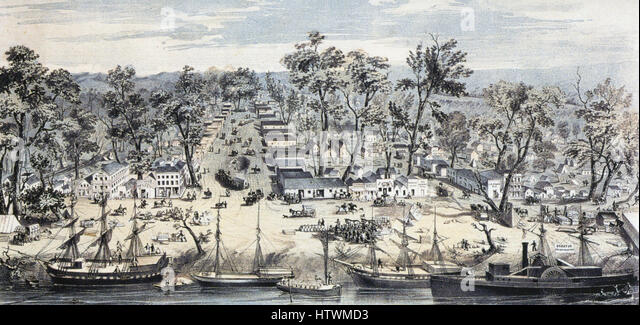 SACREMENTO, California 1850 engraving - Stock-Bilder