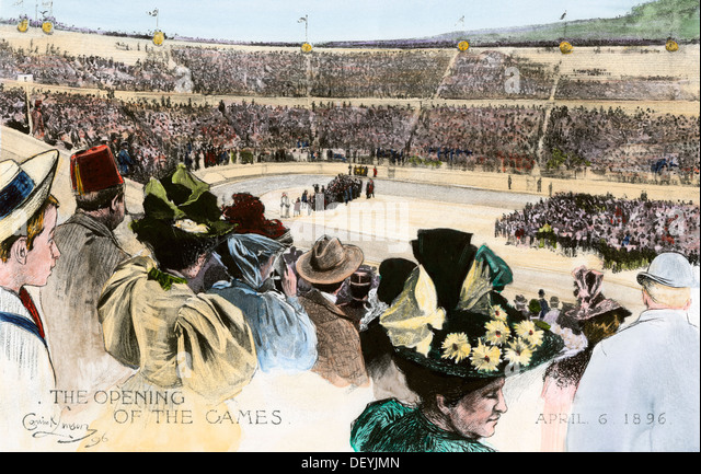 Opening ceremonies of the first modern Olympic Games in Athens, Greece, - Stock Image