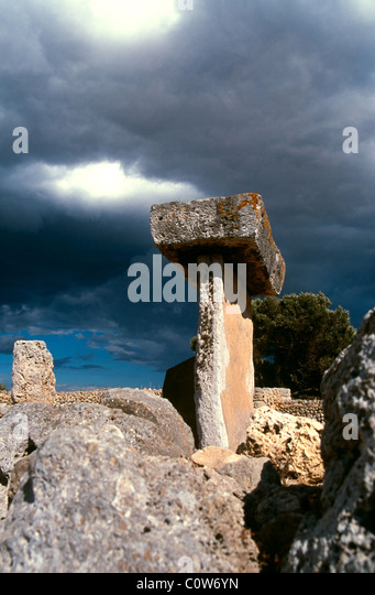 Taula in the Talayotic site of Trepuco near Mahon Menorca, Balearic Islands, Spain - Stock Image
