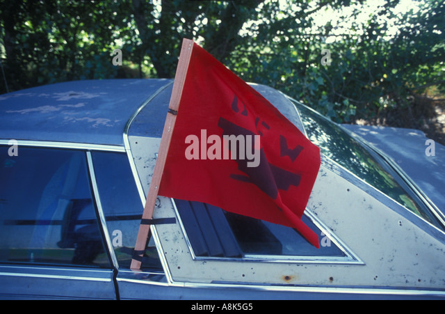 UFW flag taped on a car. window flag united farm workers union - Stock-Bilder
