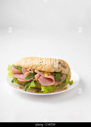 Ham and rocket salad sandwich - Stock Image
