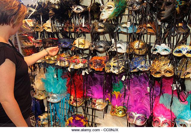 Louisiana New Orleans Port of New Orleans Riverwalk Marketplace Mardi Gras carnival masquerade eye mask costume - Stock Image