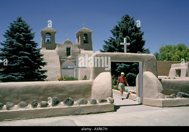 The Ranchos de Taos catholic church and mission known as the St Francis de Asis Church - Stock Image