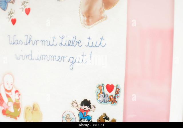 Label 'Was Ihr mit Liebe tut wird immer gut!' - Stock Image