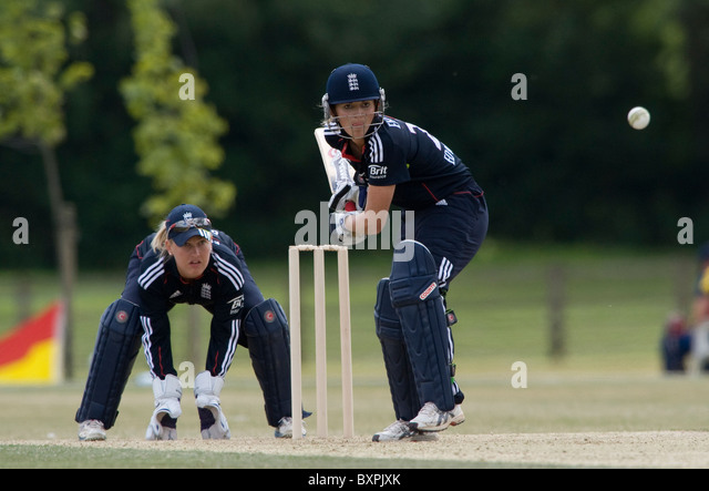 England's Charlotte Edwards during their match at Kibworth Cricket Club, Leicestershire, 5th July 2010. - Stock Image