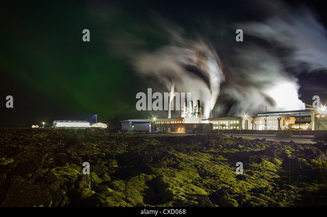 Geothermal energy plant by the Blue Lagoon in Iceland - Stock Image