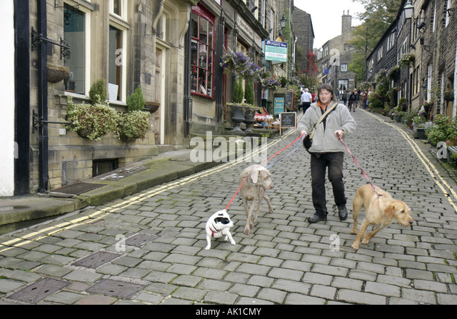 UK, England, Haworth, Main Street, dog walker, cobblestone, dogs, leash, - Stock Image
