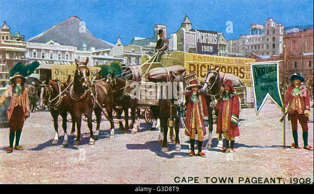 Historical pageant in the streets of Cape Town, South Africa.     Date: 1908 - Stock Image