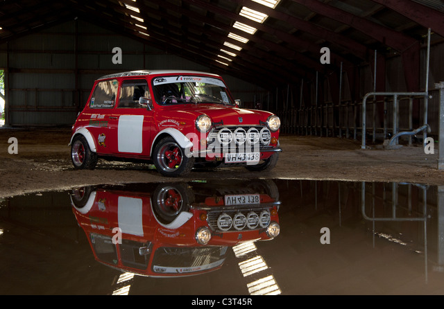 Austin Mini rally car - Stock Image