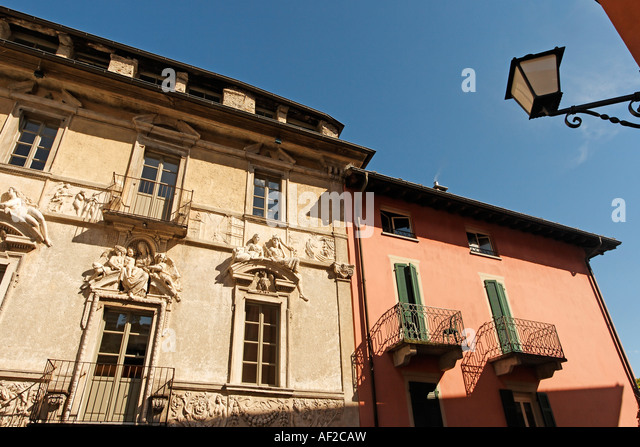 Switzerland Ticino Ascona old city center historical facade - Stock Image