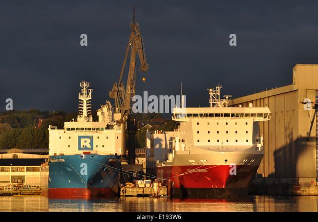 Newbuildings Rolldock Star an Oceanex Connaigra at Flensburg FSG-shipyard - Stock Image