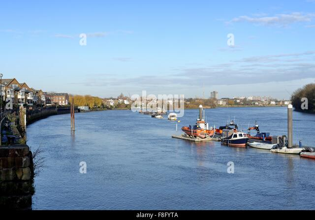 River Thames at Chiswick reach London England UK - Stock Image