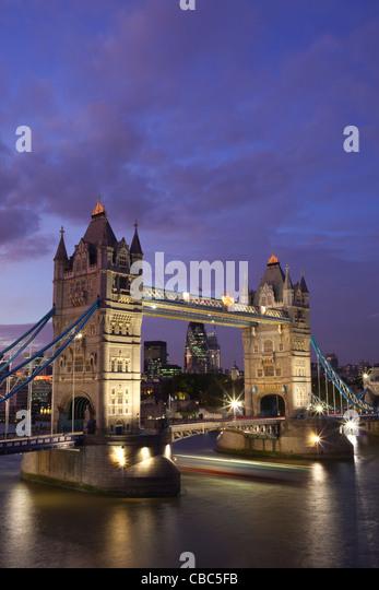 England, London, Tower Bridge and River Thames - Stock Image